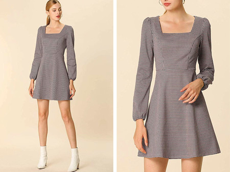 Allegra K Mini Vestido A Cuadros Vintage Cuello Cuadrado De Otono Para Mujer