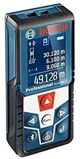 Bosch 06159940H0 Distancia/medidor láser GLM C Professional + trípode BT 150, medición de Longitudes, Superficies, Volumen e inclinaciones. Rango de Cuchilla: 0,05 – 50 m, Color:, Size