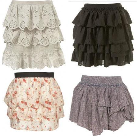 Las faldas con volantes y plisados, la prenda básica de la Primavera-Verano 2010