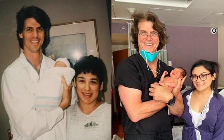 25 años después de haber atendido el parto en el que ella nació, el mismo médico atiende el nacimiento de su hijo
