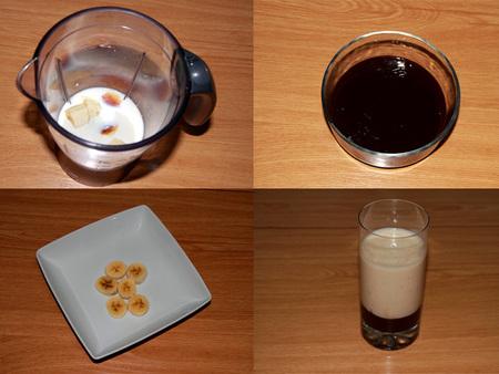 Paso a paso de batido energético y sin lactosa de plátano y chocolate