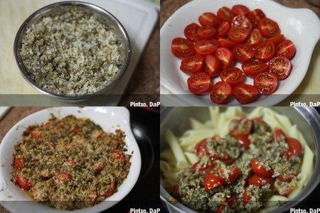 Receta de penne con tomates cherry gratinados. Pasos