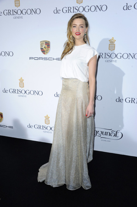 Amber Heard con un vestido de Vionnet