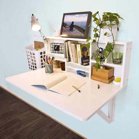 Mesa plegable de pared con estante