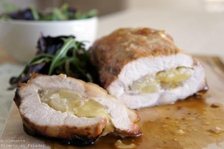 Lomo de cerdo con pera y cebolla confitada. Receta