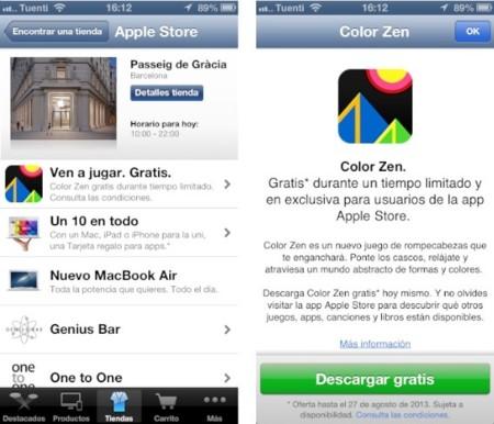 La aplicación de las Apple Store empieza a regalar contenidos, empezando con el juego Color Zen