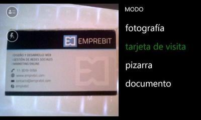 Office Lens ahora permite escanear tarjetas de presentación