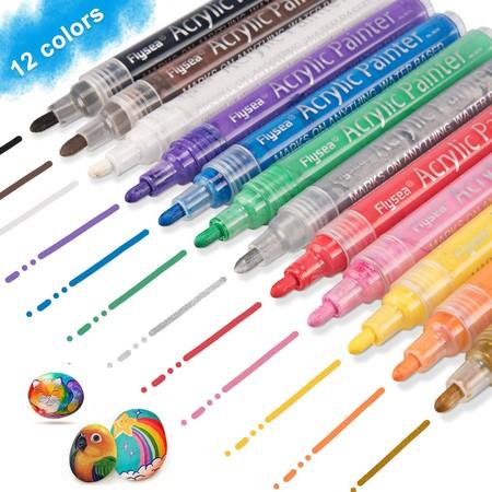 Rotuladores De Pintura Acrilica Keten 12 Colores Permanentes Punta Mediana Para Piedra Roca Tela Metal Vidrio Disenar Taza De Ceramica Scrapbooking