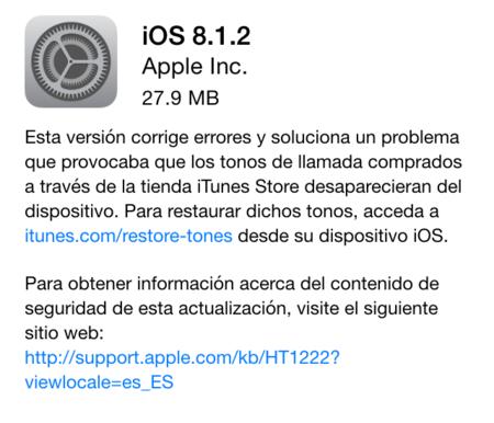 Apple lanza iOS 8.1.2 arreglando el problema con los tonos de llamada comprados