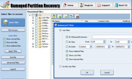 Power Data Recovery opciones de búsqueda