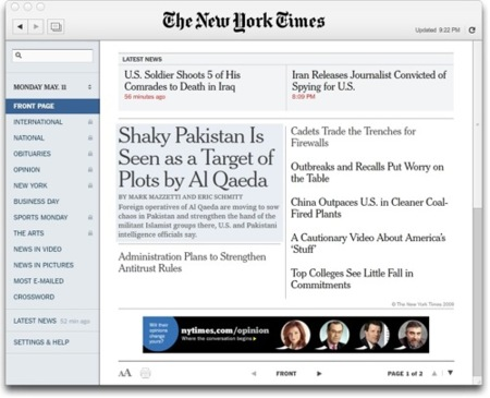 Cliente del New York Times para Adobe Air