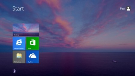 Pantalla Inicio con fondo de escritorio en Windows 8.1