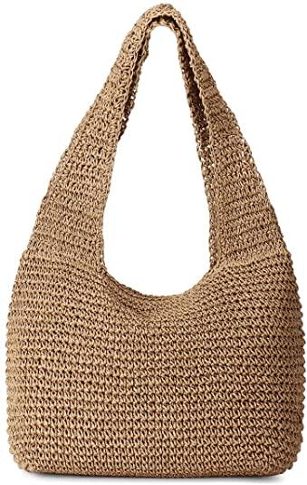 JOSEKO Bolso tejido de paja, bolso de playa de verano, bolso de hombro para mujer, bolso con asa de cuero