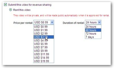 YouTube permitirá a los usuarios poner sus vídeos en alquiler