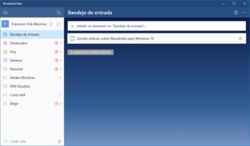 Ya está disponible la beta de Wunderlist para Windows 10