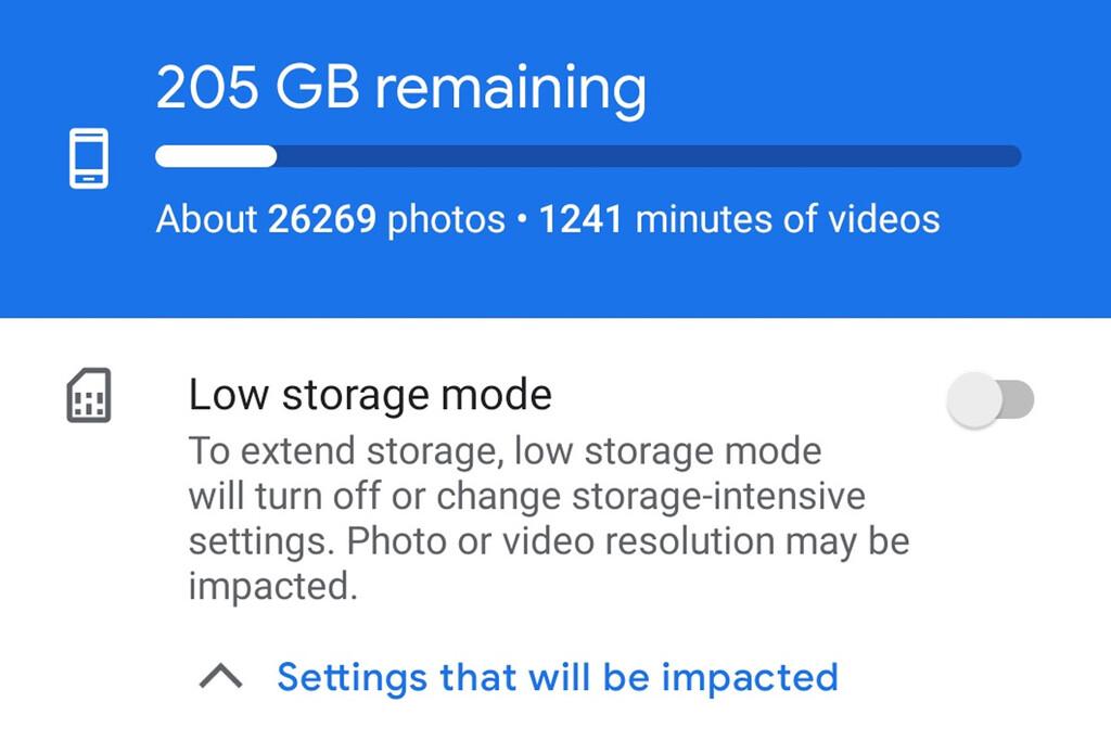 Cámara de Google® 8.1 añade un metodo de ahorro de área para en el punto tienes el amovible casi lleno