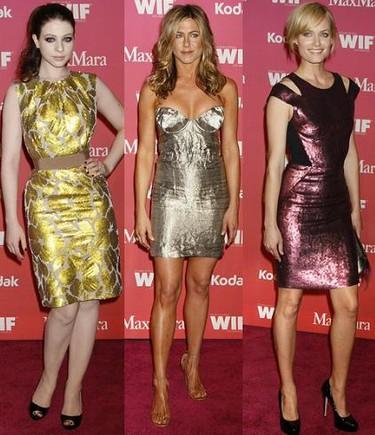 Se lleva para ir de fiesta: vestidos metalizados