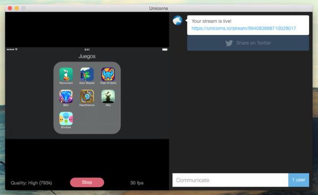 Streaming Unicorns lleva la facilidad de Periscope al streaming de nuestra pantalla de iOS