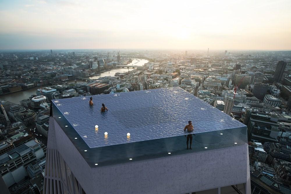 Londres quiere ser la primera ciudad del mundo en tener una impresionante piscina infinita de 360 grados sobre un rascacielos