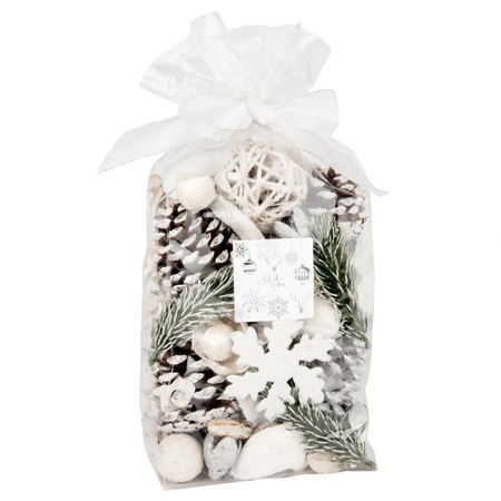 Saquito de elementos naturales para decorar en Navidad