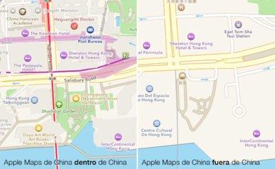 Los mapas de Apple en China son mejores dentro que fuera del país