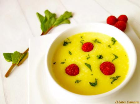 Sopa Fria De Pina Colada Con Hierbabuena 1