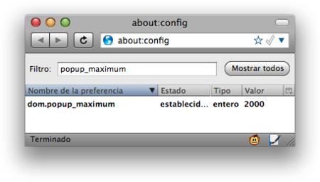 Truco: Amplía el número máximo de popups en Firefox