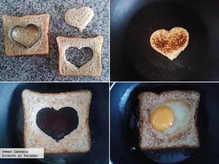 Preparación huevo estrellado en un corazón