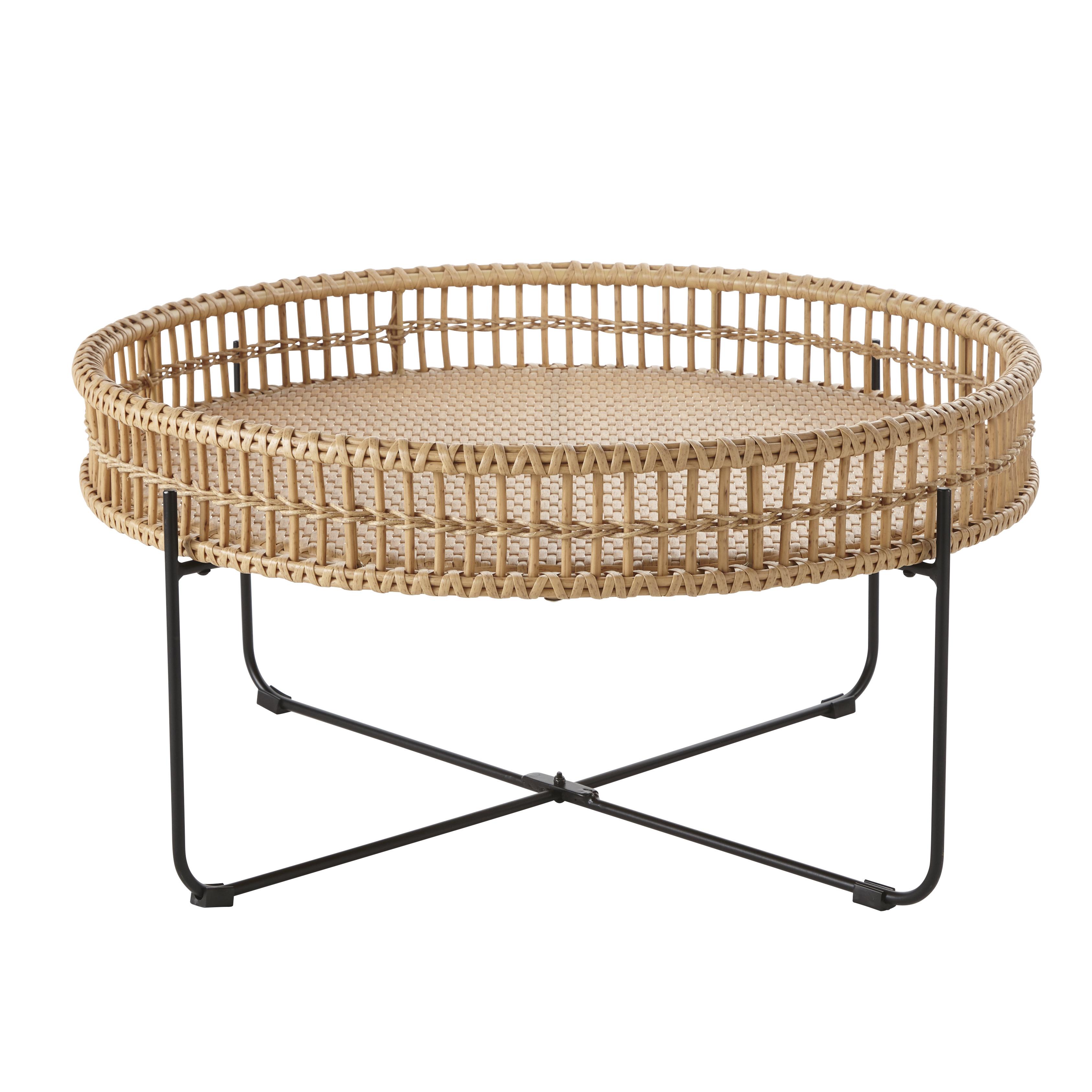 Mesa baja redonda de jardín de resina imitación a mimbre