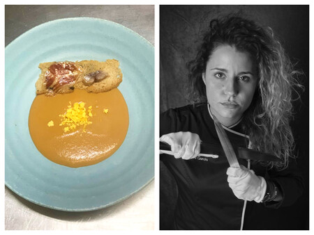 Salmorejo de mannzana Royal Gala, focaccia de aceituna negra, jamón ibérico y sardina ahumada; receta de Gemma García, chef de Mannix.v