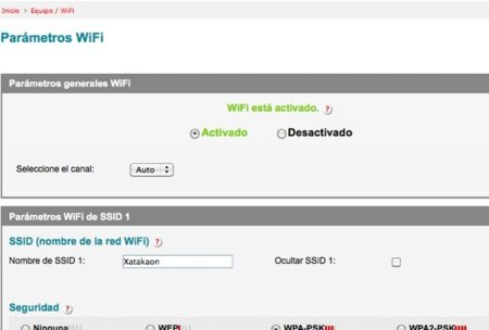 menu wifi del router
