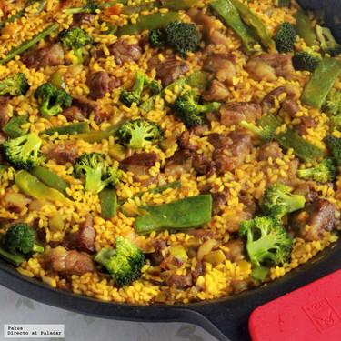 Arroz con brócoli, judías verdes y cerdo ibérico, receta