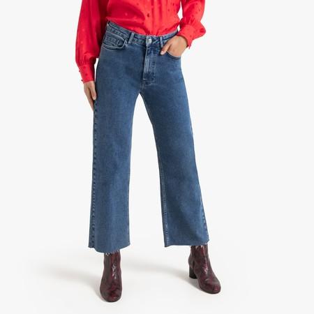 Pantalon Culotte Con Bajos Deshilachados