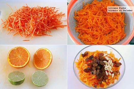 Ensalada de zanahoria rallada y piquillos. Receta ligera. Pasos