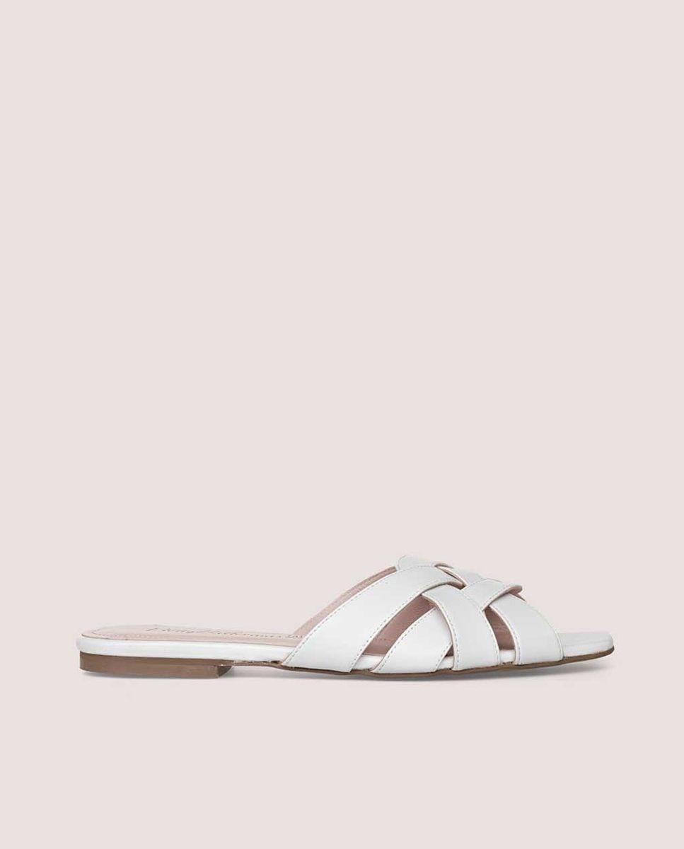 Sandalias planas de mujer Pretty Ballerinas en napa color blanco