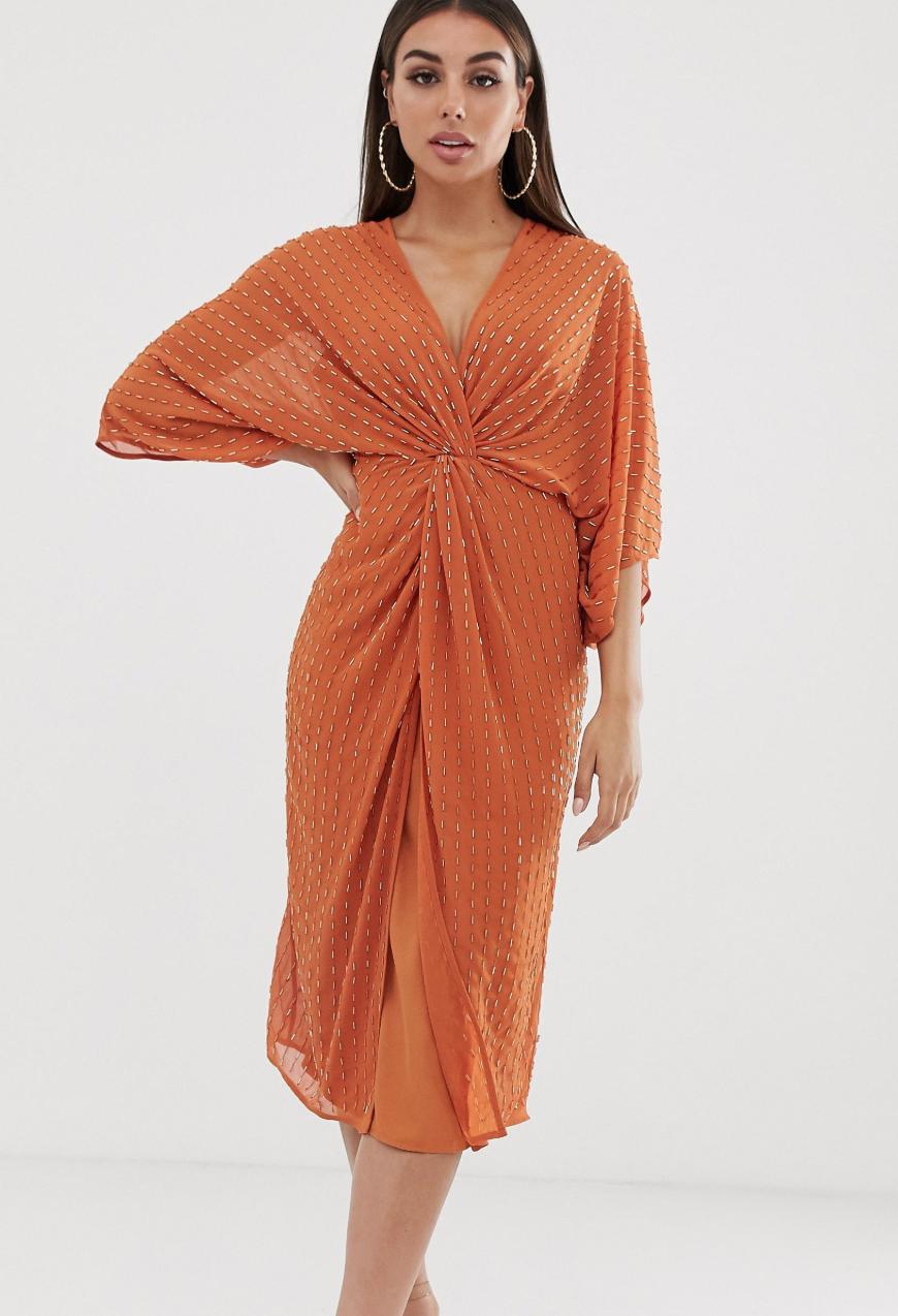 Vestido midi estilo kimono con cuentas Starbust de ASOS DESIGN