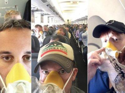 Una emergencia aérea y los pasajeros se toman selfies con las mascarillas de oxigeno