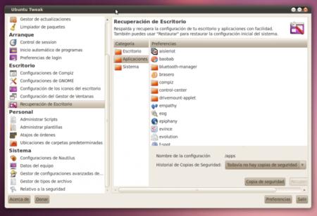 Ubuntu Tweak 0.5.6, con copias de seguridad de tu escritorio