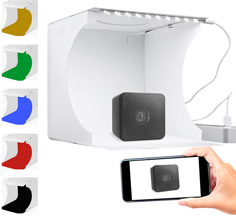 Caja de luz para fotografías con fondos de distintos colores