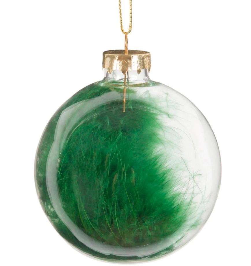 Bola de Navidad de cristal con plumas verdes (lote de 6 piezas)