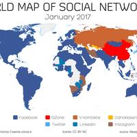 Así es el mapa de las redes sociales más utilizadas en cada parte del mundo