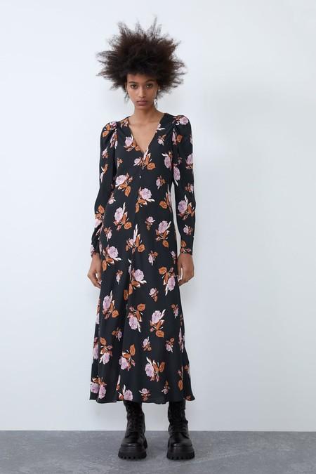 Zara Vestido Midi Estampado Floral 4