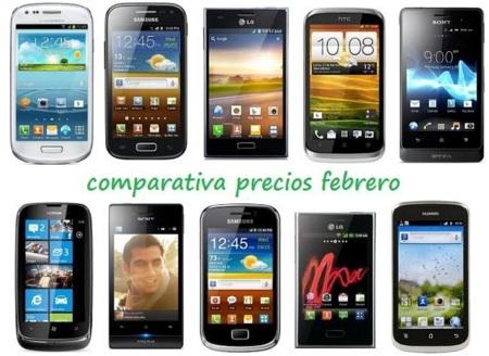 Comparativa Precios Smartphones más baratos Febrero 2013