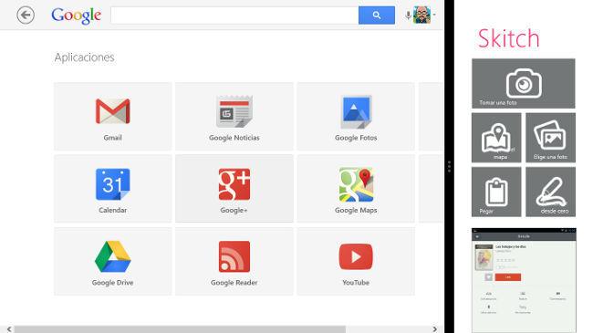 Dos aplicaciones para Windows 8 en pantalla dividida