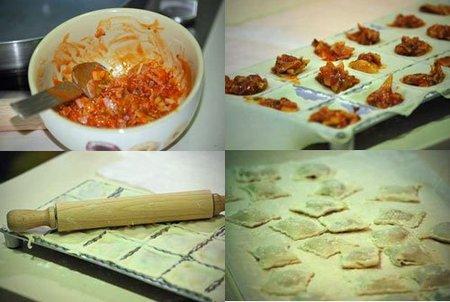 Hacer pizza ravioli margarita