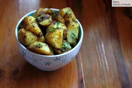 Patatas asadas con curry y especias, receta de guarnición