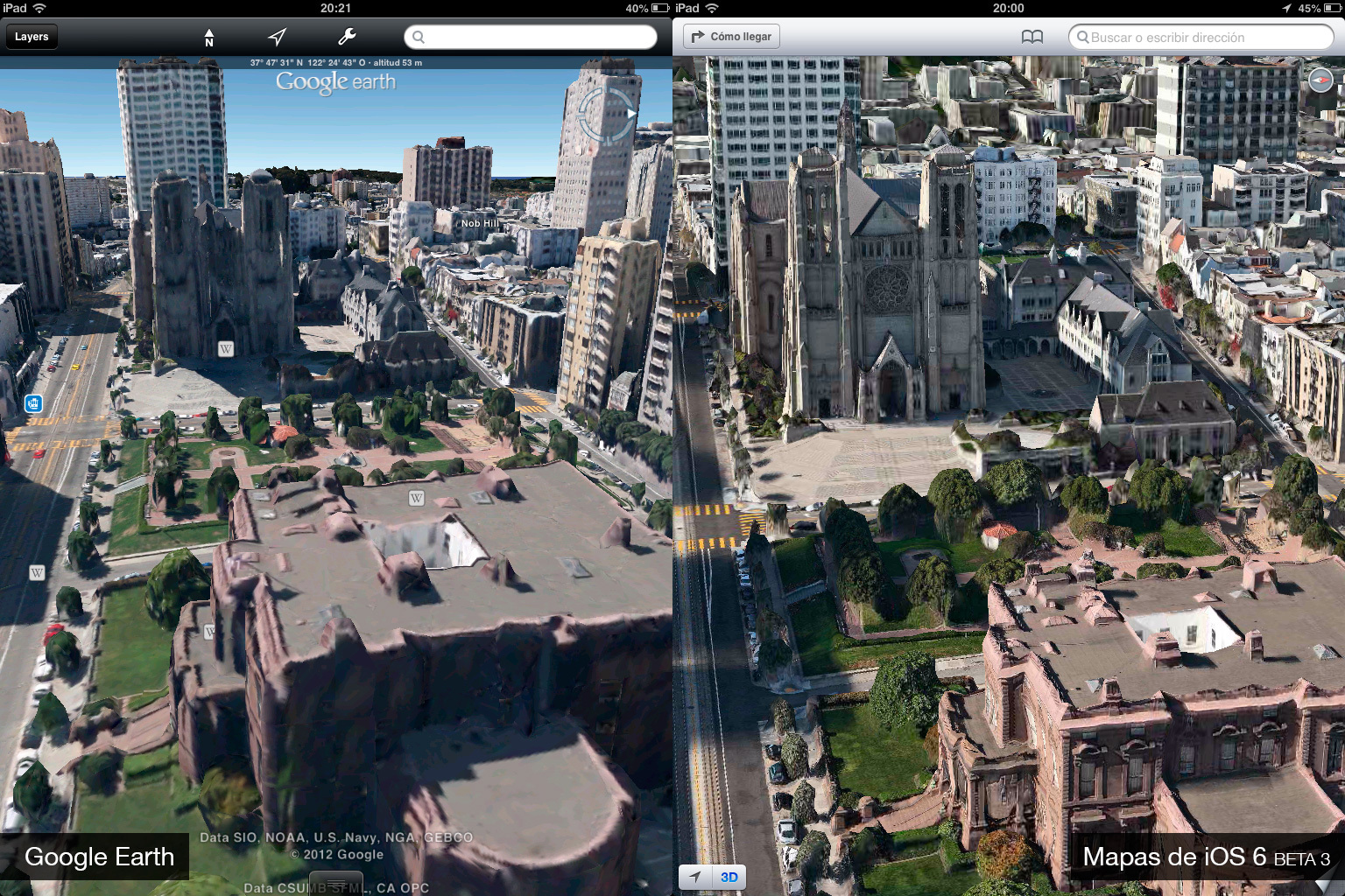 Google Earth 7.0 contra Mapas de iOS 6 (beta 3)