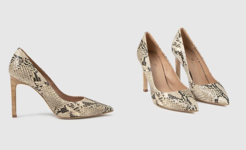 Zapatos de salón de mujer Gloria Ortiz de piel marrón con grabado serpiente