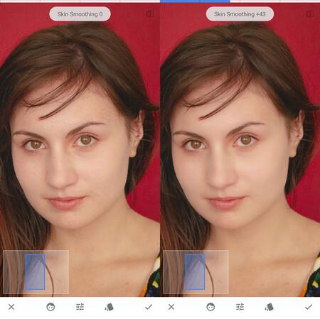 suavizar rostros en snapseed