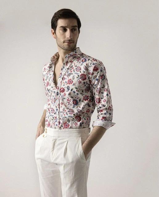 Camisa de hombre slim estampada multicolor